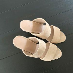 VINCE Suede Block Heel Slide Sandals - NWOT